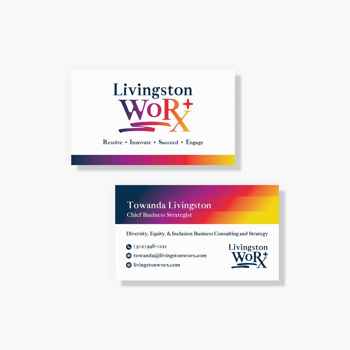DEI consultant business card design from from BrandSwan, a Delaware branding agency