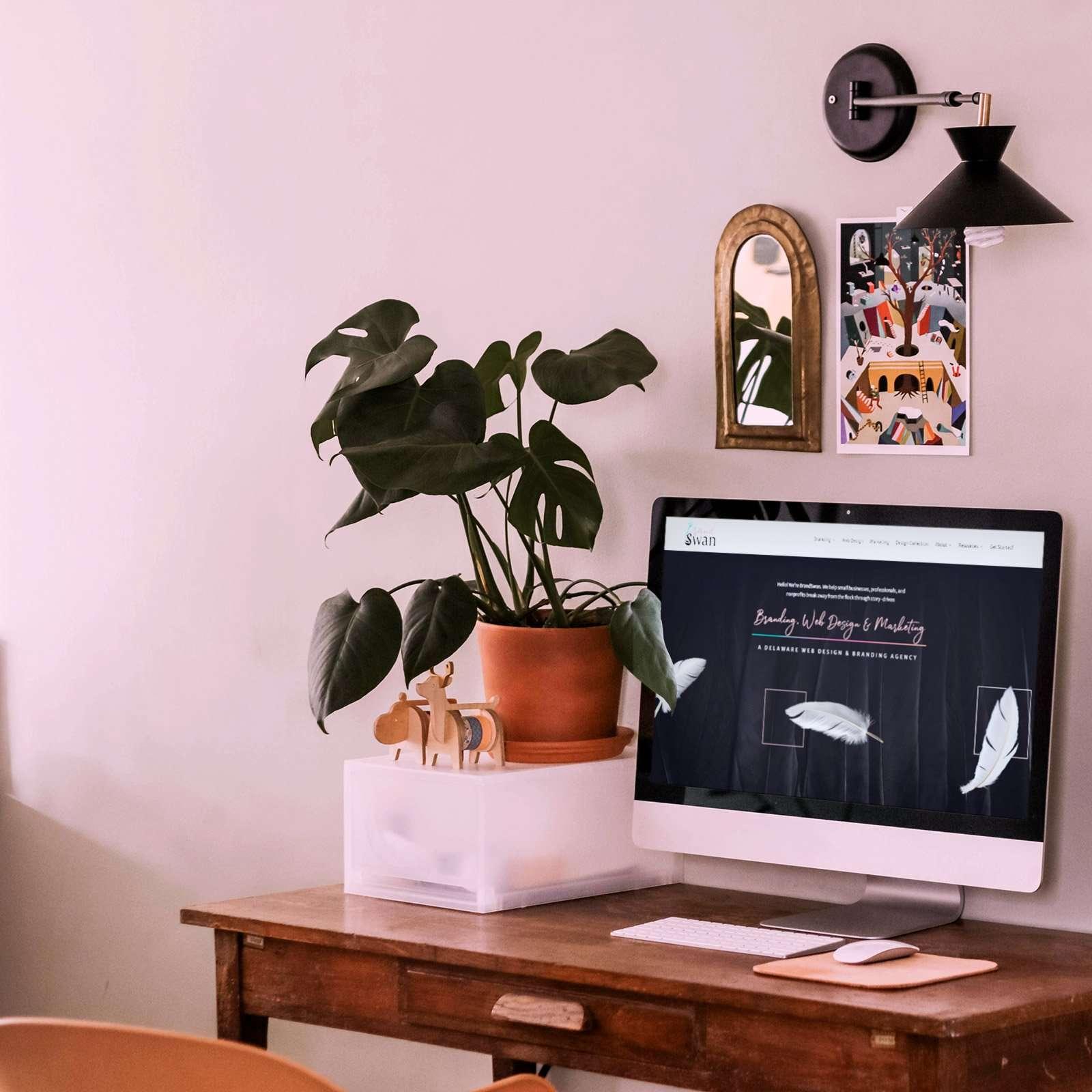 Website design for BrandSwan, a branding, web design, and marketing agency in Delaware