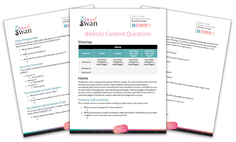 Preview of BrandSwan's website content questions template free download