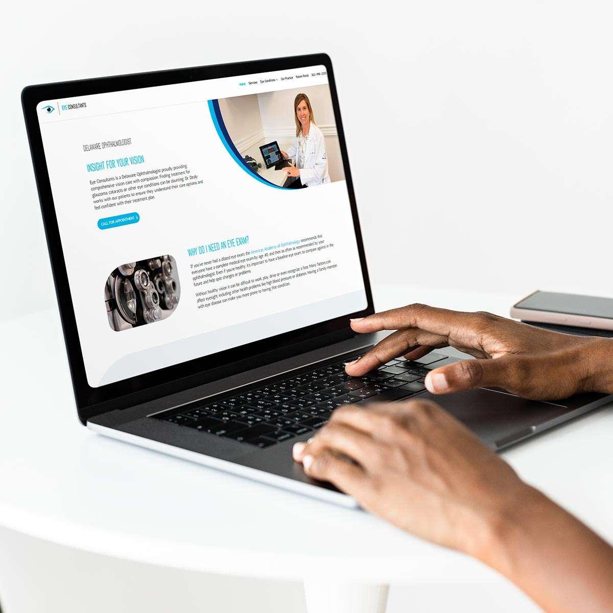Optometrist website design by BrandSwan, a Delaware branding agency
