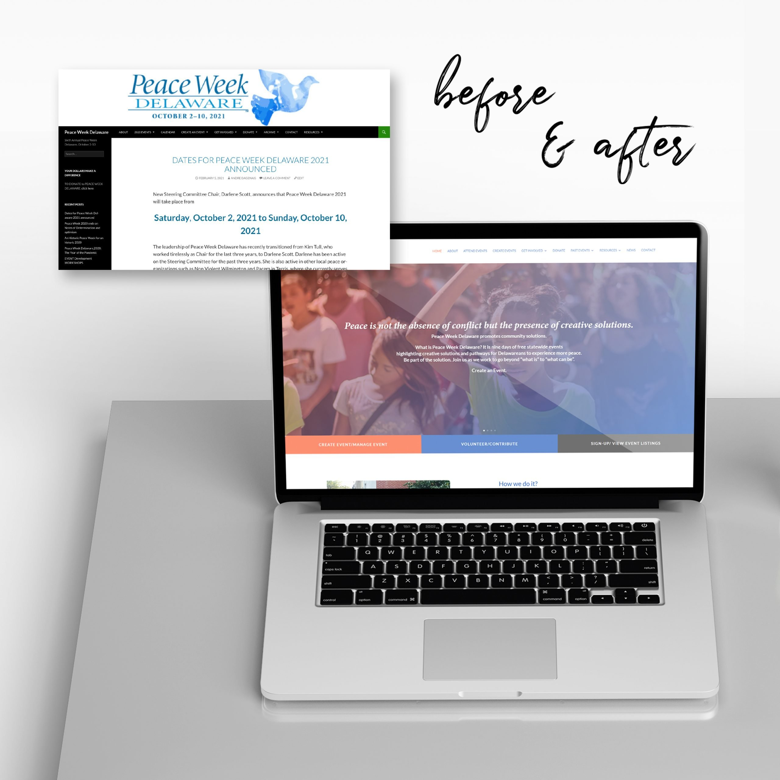 Website before and after by BrandSwan, a Delaware branding agency